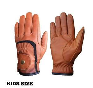 Kids Girls Boys Winter Horse Riding Gloves Genuine Leather Fashion Gloves Brown