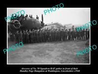 OLD POSTCARD SIZE MILITARY PHOTO WWII BRITISH RAF No 50 BOMBER SQUADRON c1940