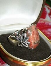 INicky Butler Sterling Silver Ring ~ Pink Stone w silver deposits ~ NB 925 India
