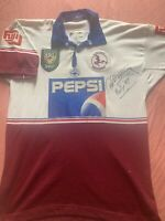 1997 #7 GEOFF TOOVEY Match Worn & Signed Manly Sea Eagles Rugby League Jersey