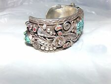 Vintage Navajo Sterling Silver and Turquoise Watch Cuff Bracelet signed <c