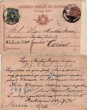 CARTOLINA POSTALE RISPOSTA C26c(con 5c(67)COME TASSA IN ARRIVO)-Genova 22.9.1898