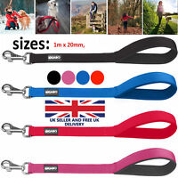 STRONG NYLON DOG LEAD With PADDED HANDLE - Choice of Black Blue Red & Pink
