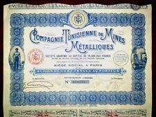 Compagnie Tunisienne de Mines Métalliques,Share certificate Tunisia 1932