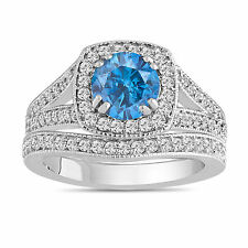 PLATINUM ENHANCED FANCY BLUE DIAMOND ENGAGEMENT RING & WEDDING BAND SETS 1.80CT