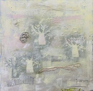 SUE BETTS Abstract landscape painting 90cmx90cm 'Winter's Light'