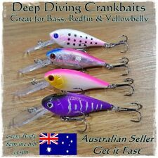 4 Redfin & Bream Fishing Lures, Yellowbelly, Flathead, Bass, Perch, Trout, 8cm