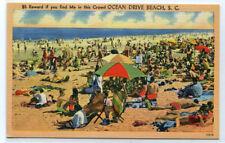 Crowded Beach Scene Ocean Drive Beach South Carolina linen postcard