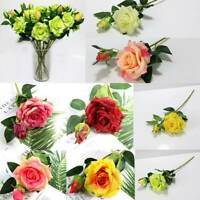 Real Touch Rose Artificial Silk Flower Peony Pink Wedding Bouquet Home Decor Hot