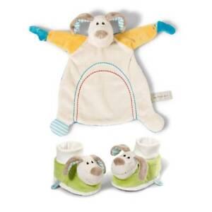 NEW My First NICI Newborn Comforter Plush Dog Blanket and Rattling Booties Set