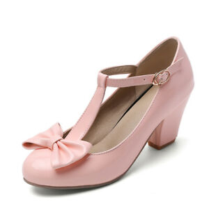 Women's Mary Jane Cute Bow T-strap Pointed Toe Block Heel Shoes Pumps US 6 Pink