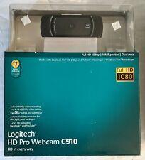 Logitech HD Pro Webcam C910 1080p USB Carl Zeiss Tessar V-U0017 PC Video Cam