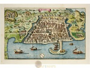 Algiers Old Print, fortification Algeria, by Merian 1638