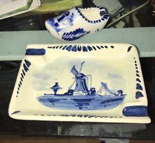 2 Vintage Holland Blue Delf Hand Painted Windmill Clog Trinket Ashtrays Lot