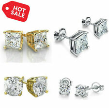 Earrings Stud Silver Women Sterling 925 Round Fashion Ear Cubic Zirconia Set