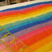 "PreQuilted cotton fabric Vtg 80s RAINBOW 42"" x 23"" pre quilted last piece"