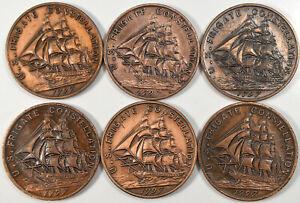 1955 US Frigate Constellation Commemorative Bronze Medals - Lot of 6