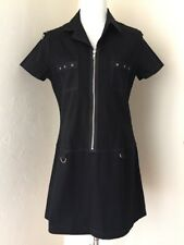 SUPER LOW FAT Stretch Black Purple Detailed Steampunk Goth Zip Up Dress XL