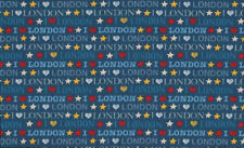Makower Patchwork Fabric I Luv London Blue - Per 1/4 Metre
