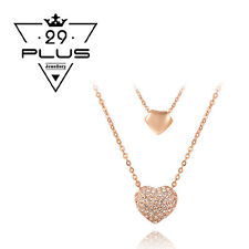 18K Rose Gold Filled Double Heart Vintage Pendant Necklace with Crystal