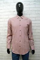 Camicia Uomo Hugo Boss Taglia XL Quadretti Cotone Slim Shirt Manica Lunga Rossa