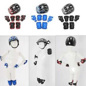 Set of 7 Protective Gear Outfit Kids Helmet with Knee Wrist_Guard Elbow Pad Sets