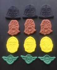 STAR WARS Edible X 12 cake cupcake toppers Darth Vader Chewbacca Yoda C3po
