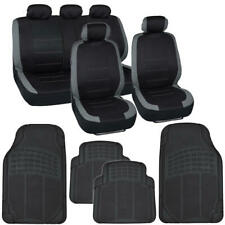 Full Car Seat Covers & Rubber Floor Mats Set Gray/Black Universal Auto Truck SUV