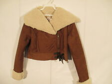 J J Winter Assymetric Faux Shearling Jacket S Tobacco NWT