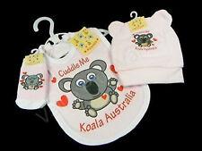 Australian Souvenir Australia Koala Hat Beanie Bib Socks Pink Baby Girl Set NEW
