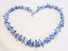 ice blue &  white bamboo coral bead necklace with opalescent crystal beads