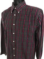 Stafford Shirt Men's Size 15 1/2 34 - 35 Red Plaid Button Front Long Sleeve