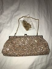 Carlo Fellini Gold Beaded Evening Bag Shoulder Fancy NEW