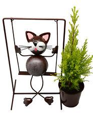 Cat Planter Plant Pot Holder Metal Swinging Cat Garden Ornament Planters Gift