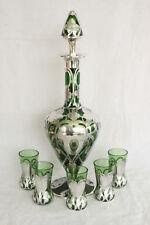 STUNNING ANTIQUE GREEN DECANTER & 5 SHOTS ART GLASS STERLING SILVER OVERLAY SET