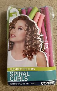 Conair 18 Pink & Green Flexible Rollers Spiral Curls  For Soft Curls That Last