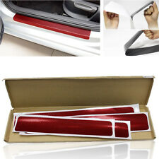 4x DIY Carbon Fiber Look Car Door Sill Scuff Pedal Cover Sticker Protector Red