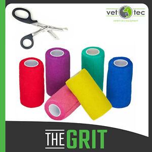 Vet Tec Cohesive Bandage Vet Wrap 10cm x 4m Horse Bandages 12 Pack & Scissors