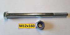 Vite DIN 931 m12x160mm, 10.9 + madre m12 kl.10 zincato per accoppiamento a sfera