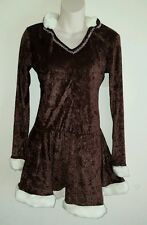 Adult Eskimo Halloween Costume Short Brown Dress With Hood One Size Cosplay New