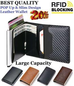 🔥RFID Blocking Men's Card Holder Leather Wallet Credit Metal Slim Money Clip UK