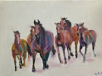 Print from Original oil painting art horses contemporary pink decor equestrian