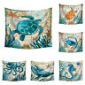 Marine Animal Print Polyester Tapestry Wall Hanging Hippie Bedspread Home Decor