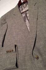 EUC Southwick Tweed Beige Gray Woven 2 Button Sport Coat Jacket Mens 48L Silk