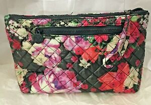 MacBeth Collection Quilted Makeup Cosmetic Travel Bag Wristlet Purple Red Floral