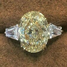 Engagement Ring 14k White Gold Over 3.00 Ct Yellow Oval Cut Moissanite Diamond