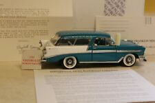 Franklin Mint 1956 Chevrolet Bel Air Nomad Wagon 1:24 Scale, Turquoise/Ivory Mib