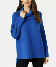 NWT Style & Co. Women's Blue Sea Captain Cowl Neck High-Low Sweater Petite PM