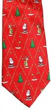 "John Ashford Men's Novelty Silk Tie 60"" X 4"" Santa w/ Reindeer Caddie Play Golf"