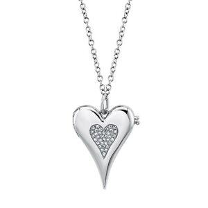Diamond Locket Heart Necklace 14K White Gold Pendant Pave Round Natural 0.08CT